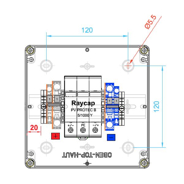 enwitec protezione da sovratensione Raycap DC Tipo II, 1 MPPT, terminali
