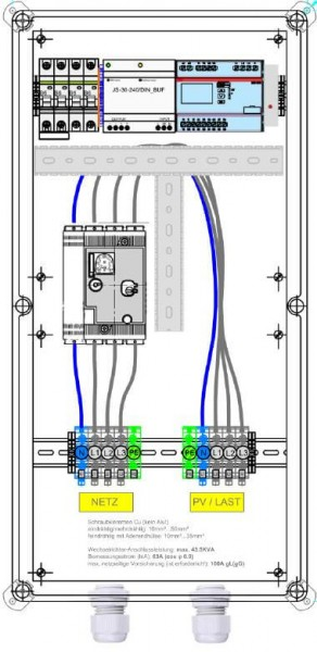 Protezione Enwitec NA in ingresso 69 kVA 100A