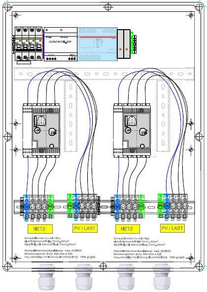 Protezione Enwitec NA in ingresso 2 x 43,5 kVA 63A